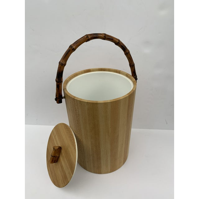 Beige MCM Vinyl and Bamboo Ice Bucket Set For Sale - Image 8 of 13