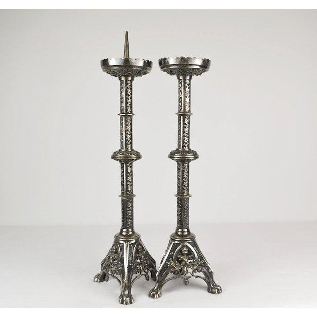 Late 19th Century Silvered Alter Prickets - a Pair For Sale - Image 5 of 10