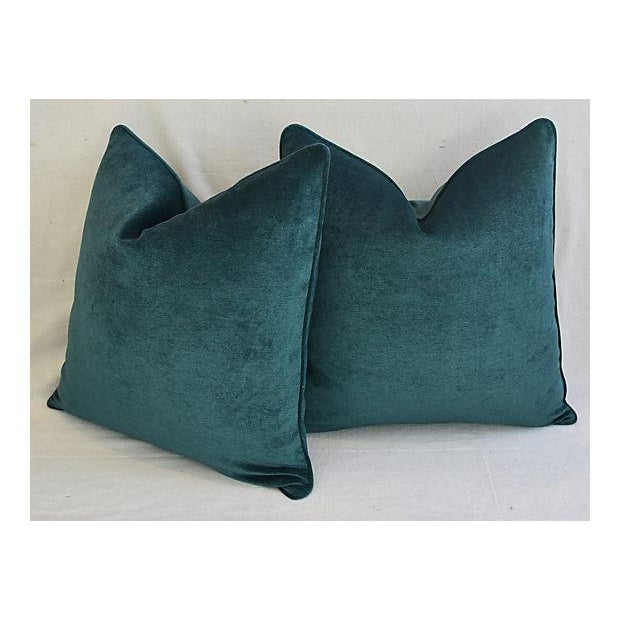 Early 21st Century Aqua Marine Green/Turquoise Velvet Feather & Down Pillows - a Pair For Sale - Image 5 of 13