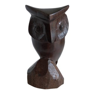 Midcentury Carved Wood Owl