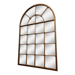 6 Ft X 4 Ft Mid 19th Century Arched Gold Floor Mirror With Grids For Sale