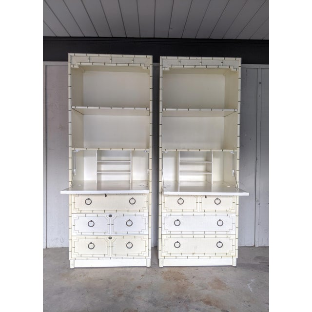 Antique White Drexel Kensington Faux Bamboo Secretary Cabinets, a Pair For Sale - Image 8 of 12