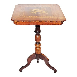 19th Century English Traditional Inlaid Candlestick Table For Sale