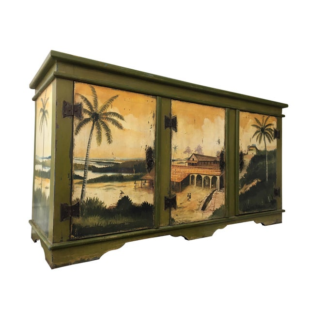 Artiero Brazil Tropical Palm Tree Hand-Painted Credenza Cabinet - Image 1 of 10