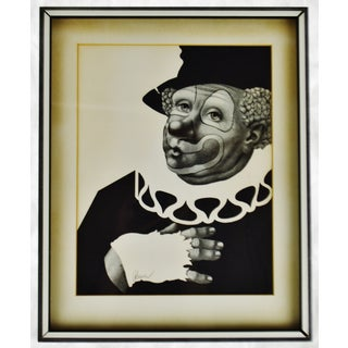 Vintage Framed a Besser Black & White Clown Lithograph - Pencil Signed Preview