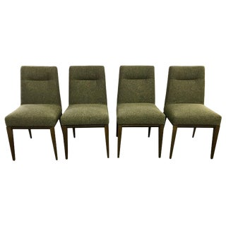 Set of Four Calligaris Italy Olive Tweed Weave Upholstered Dining Chairs For Sale