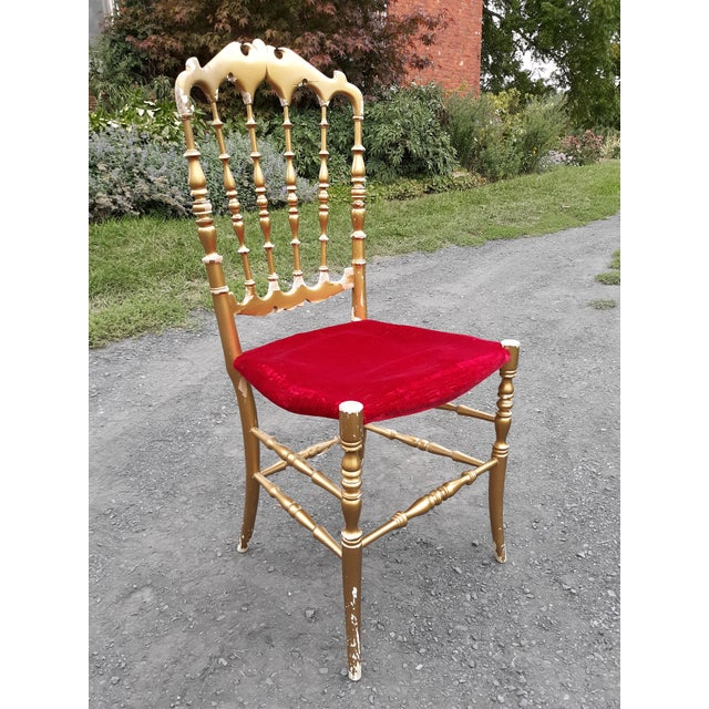 Hollywood Regency Vintage Italian Chiavari Chair in Gold Over Wood For Sale - Image 3 of 12