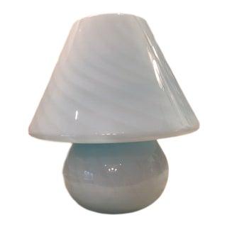 Italian Murano Venini Blue Mushroom Lamp For Sale