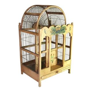 1990s Shabby Chic Blonde Wood Bird Cage