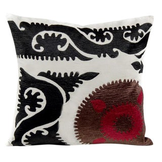 Silk Suzani Crest Pillow For Sale
