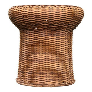 Mid-Century Modern Wicker Rattan Drum Style Side Table For Sale