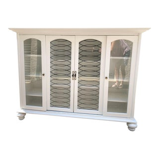 Vintage White China Cabinet Circa 1970 For Sale