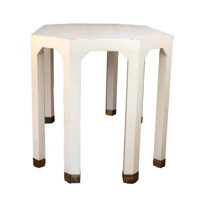 Mid-Century Cream Octagon Shaped Side Tables - a Pair For Sale - Image 4 of 10