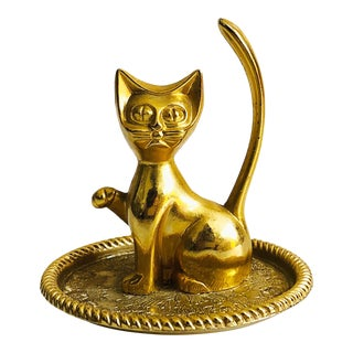 Vintage Gold Tone Cat Ring Dish For Sale