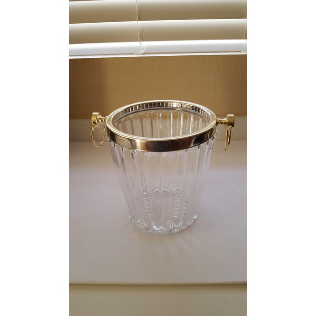 1950s Hollywood Regency Vintage Crystal and Brass Champagne Bucket For Sale - Image 5 of 5