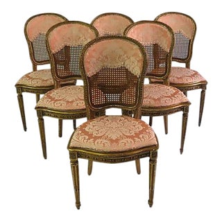 Antique Stamped French Louis XVI Pink Cane Dining Chairs - Set of 6