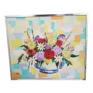 1970's Signed Modernist Floral Mosaic Still Life Oil Painting, Framed For Sale