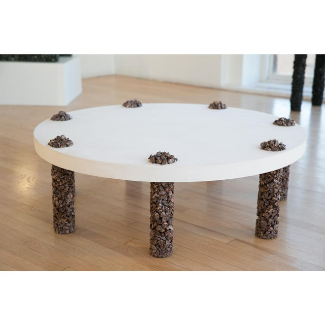 Contemporary Hand Made 7 Leg Coffee Table Made of Picasso Jasper Stone and White Plaster Top For Sale - Image 3 of 5