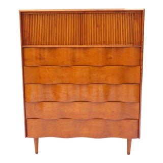 Edmond Spence Wave Front Tall Dresser, Original Finish, Made in Sweden For Sale