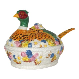 Vintage Ceramic Pheasant Soup Tureen & Ladle For Sale