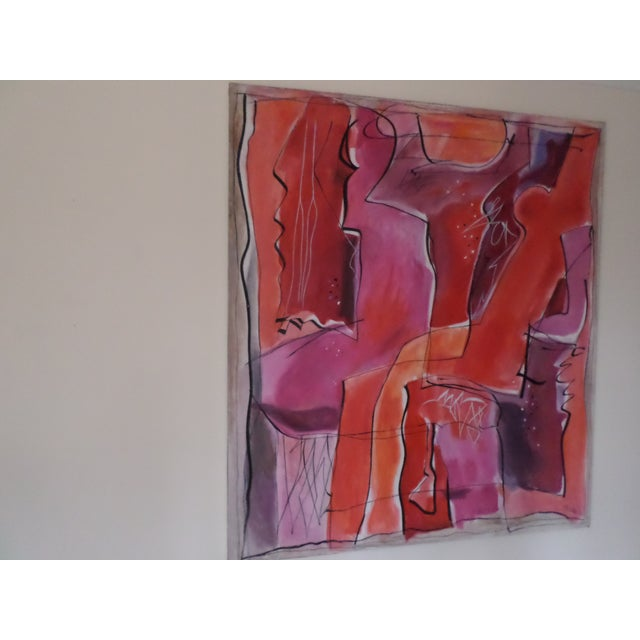 """A beautiful abstract oil on canvas by May Bender, titled """"Red Intrinsic"""" on the reverse and signed and dated """"98, front..."""