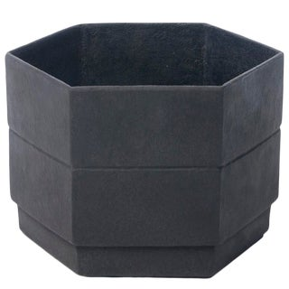Hex 2 Planter in Matte Black For Sale
