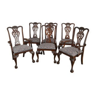 Maitland Smith Chippendale Style Set 6 Solid Mahogany Ball & Claw Dining Chairs B For Sale