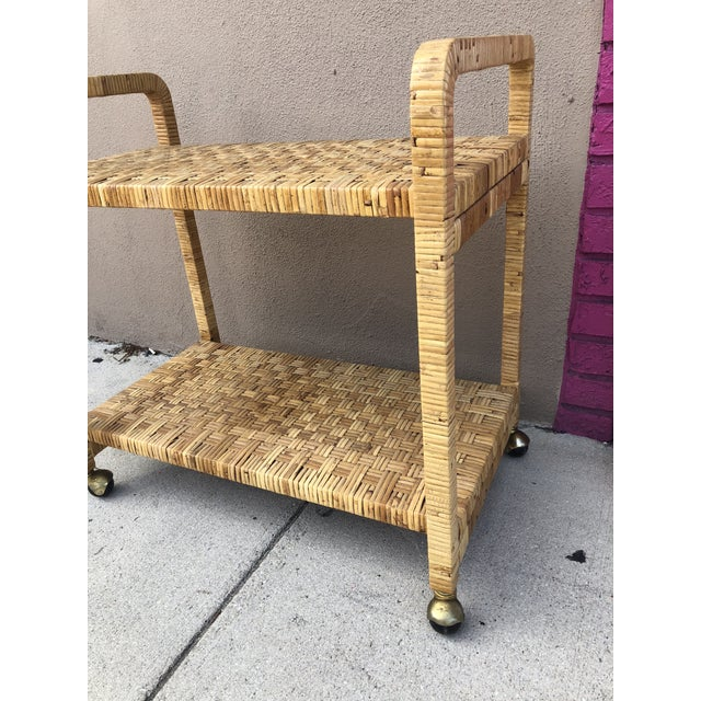 1980s Vintage Rattan Two Shelves Rolling Drinks Cart For Sale - Image 5 of 8
