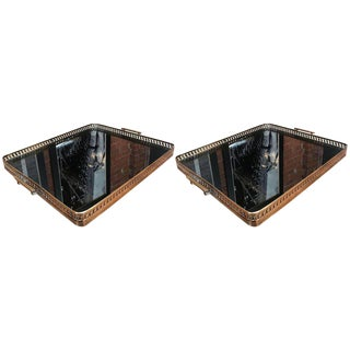 Pair of Brass Italian Tray With Smoke Glass Top, 1960s
