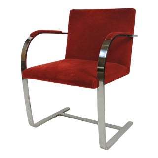 Mies Van Der Rohe for Knoll Brno Flat Bar Stainless Steel Chair For Sale