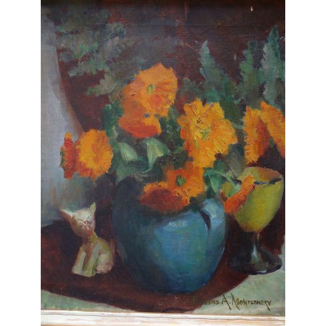 Chicago artist Eugene A. Montgomery Still Life: Flowers in Vase with Ceramic Cat. Still life from 1938: According to the...