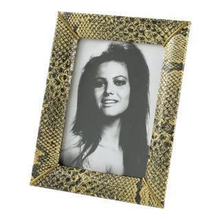 French Picture Photo Frame 1960s Faux Leather SnakeSkin Pattern For Sale
