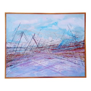 """Vintage Mid-Century Abstract """"Bridge"""" Painting For Sale"""