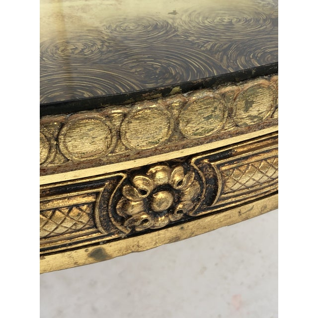 Hollywood Regency Vintage Circular Coffee Table in Gold Finish For Sale - Image 3 of 13