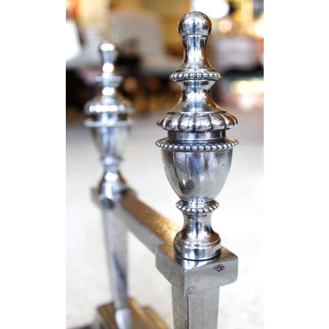 George III Period Polished Steel Fire Dogs - A Pair For Sale - Image 5 of 9
