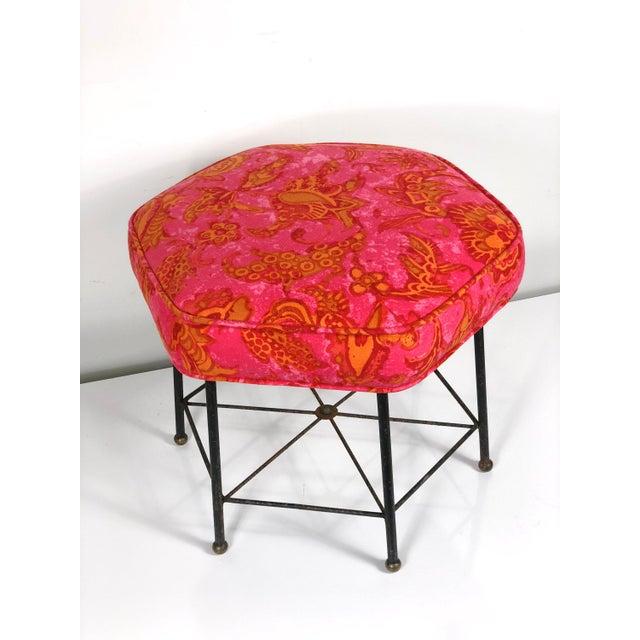 Asian Vintage 1950's Modernist Pink and Orange Velvet Iron Footstool / Ottoman For Sale - Image 3 of 9
