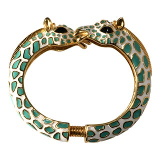 Kenneth Jay Lane Enameled Giraffe Bracelet Hinged Bangle For Sale