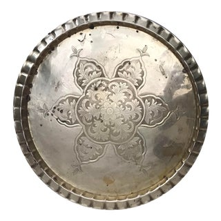 Brass Moroccan Indian Floral Design Tray Platter For Sale
