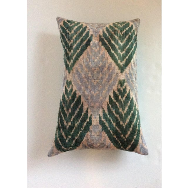 Silk And Velvet Ikat Pillow - Image 3 of 5