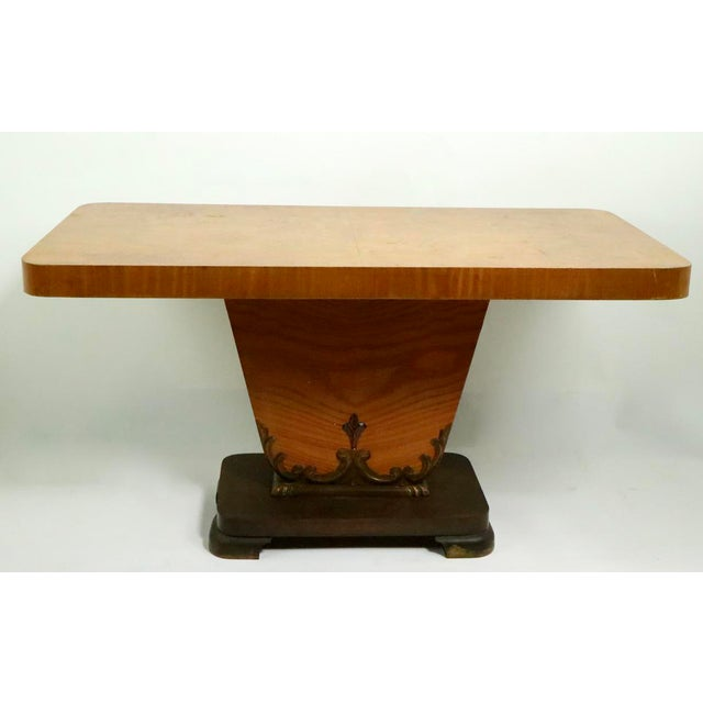 Art Deco Diminutive English Art Deco Burl Console Table For Sale - Image 3 of 9