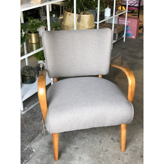 Heywood Wakefield exposed frame arm chair. Solid birch. Professionally reupholstered in Knoll Textiles neutral.