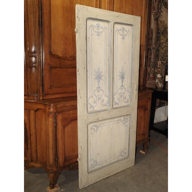 Blue and White Painted Antique Door From Lombardy, Italy Circa 1850 For Sale - Image 11 of 13