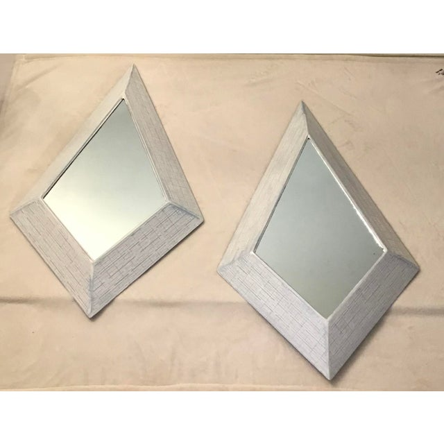 Early 1950's Vintage White Blue Washed Lacquered Grasscloth Hanging Wall Mirrors - Set of 2 For Sale - Image 12 of 12