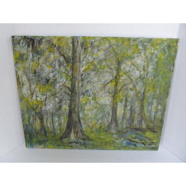 Paint Vintage Impressionist Forest Painting For Sale - Image 7 of 7