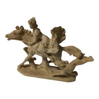 Art Deco Lady & Dog Signed Sculpture For Sale