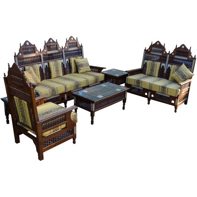 Boho Chic 19th-C. Fine Moorish Salon Suite, 6 Pcs For Sale - Image 3 of 13