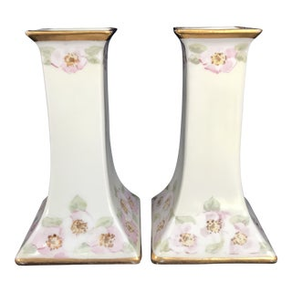 "1900s Biedermeier ""Royal Austria"" Hand Painted and Gilded Porcelain Candlesticks - a Pair For Sale"