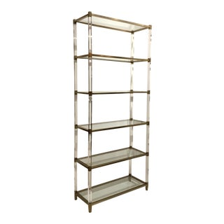 Modern Brass Finish and Acrylic Etagere For Sale