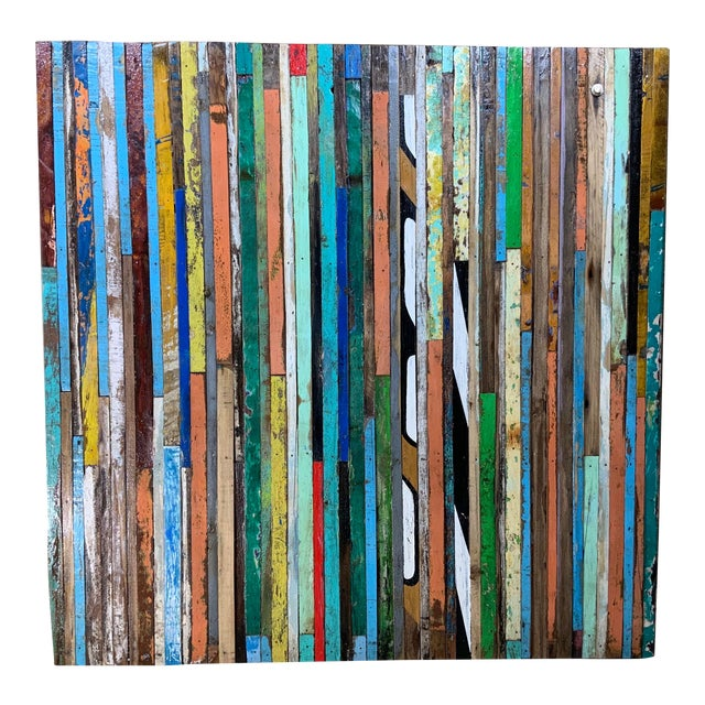 Abstract Reclaimed Wood Wall Sculpture For Sale