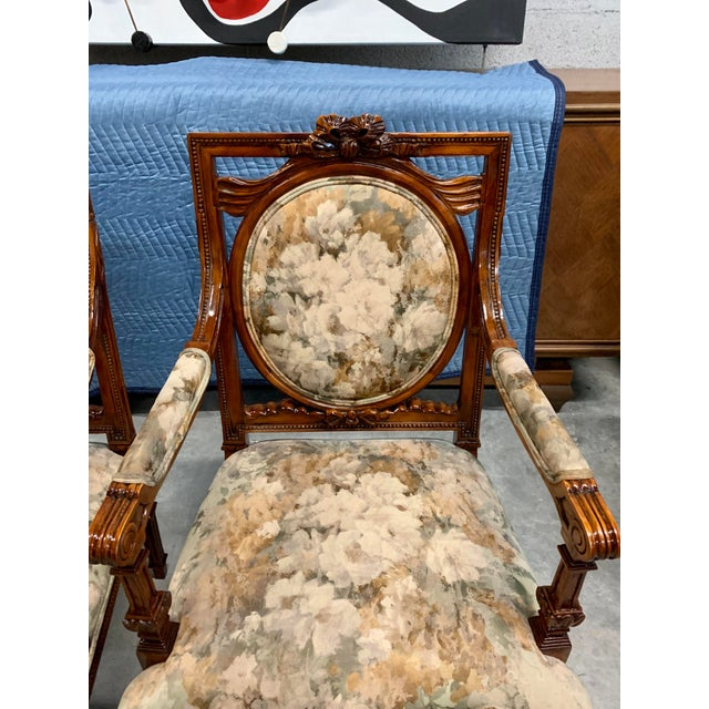 Wood 1920s Vintage French Louis XVI Solid Mahogany Accent Chairs or Bergère Chairs - a Pair For Sale - Image 7 of 13